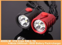 4000LM  Super 3T6 Cree XM-L T6 Red Black Bike Light Bicycle lamp HeadLight 4-Mode 6400mah 18650 Battery Pack+charger