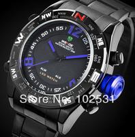 Fast Shipping Fashion & Luxury WEIDE Brand Multifunction Men ' s Military Sport Black Steel watch