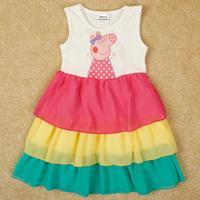 2014  nova brand baby girl children clothing cotton Sleeveless dresses of the girls printed cartoon animal Peppa big H4996#