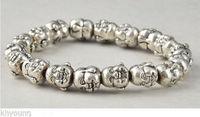 Tibet Silver Chinese Old Handwork Carving Buddha Heard Exorcism Bracelet