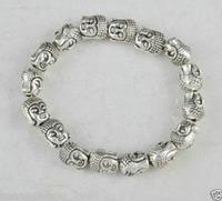 Tibet Silver Buddha Chinese Old Handwork Amulet Elastic Bracelet