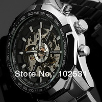 2014 New Winner Fashion & Luxury Clock Automatic Mechanical Classic Skeleton Design Military Men's Steel Hand Watch