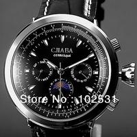 Brand New Fashion $ Luxury Russia Slava Brand Classic Moon Phase Automatic Mechanical Men's Military Wrist Watch