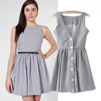 Details about Two wearing striped v-neck backless and even clothing vest dress