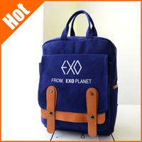 2015 New EXO Korean Women's Canvas Backpack Rucksack Student Book School Travel Bag Men's Backpacks 4Colors Dropshipping