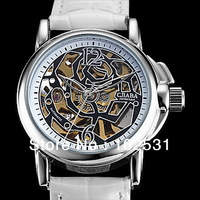 New Fashion Lady Russia Luxury Clock Brand Gold Skeleton Dial Automatic Mechanical Women Bright Leather Dress Grils Watch