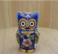 Oriental Cloisonne Carved Owl Trinket jewelry Boxs