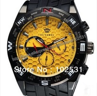 2013 Brand New Luxury & Fashion 3 Dials Automatic Mechanical Men's Army Military Rubber Hand Watch