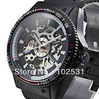 Hot ! Fashion & Luxury Hollow Clock Automatic Mechanical Classic Winner Skeleton Design Military Men's Hand Watch