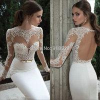 Top Sale Vintage Lace Long Sleeves Open Back White Satin Mermaid White Evening Dress 2014 Vestidos De Novia