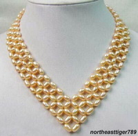 5 Rows Yellow Pearl Hand-Knitted Silver Clasp Necklace
