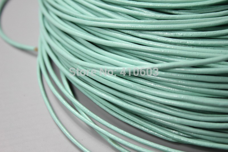2mm mint round leather cords, 2mm genuine/real leather string(China (Mainland))