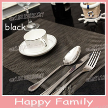 (4pcs/lot) 4 Colors Black Weaved Table Cloth Mat Rectangle Bowl Pot Pad Dinner placemat Disc Mats Waterproof Table decoration(China (Mainland))