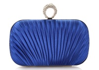 Royal blue women clutches purse handbags bags with one ring diamond kuckle clutches purse Free Shipping