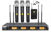 MICWL 4x100 frequency  Wireless Karaoke Microphone Mic Set - 1 Bodypack with Lavalier and 3 Handheld