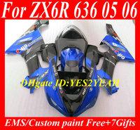 Motorcycle Fairing kit for KAWASAKI Ninja ZX6R 05 06 ZX6R 636 2005 2006 TOP blue gloss black ABS Fairings set +7 gifts SX62