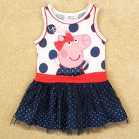 Free Shipping 2014 New  Peppa Pig Girl's Dresss Sleeveless Peppa Pig Girl Clothing Dress Cartoon Girls Summer Dress