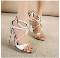 New brand 2014 sexy lady's open toe pumps 11.5cm women thin heel party shoes High Heels J3327