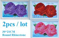 2pcs/lot 5D DIY diamond Painting crystal rose flower 3D Cross Stitch Decorative Round embroidery Rhinestone 30 * 21CM