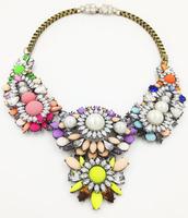 New Wholesale 2014 Luxury Chain statement chunky shourouk necklace rhinestone Choker fashion necklaces & pendants  women gift