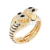 Punk Cool Cobra Snake Bangle Women Cuff Bracelet Gold Color Rhinestone Metal Wide Bangle Bracelet