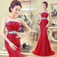 Free shipping Red bride tube top sparkling diamond slim sexy fish tail hip Evening dress HB01