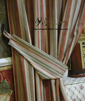 Parallel lines bedroom american-style stripe curtain red and green free shipping