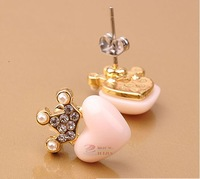 Rhinestones crown hearts small cute wild earrings hair accessories rings for women, wholesale free shipping YT0546
