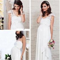 Hot v-neck backless wedding dress custom size of pregnant women