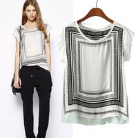 free shipping! new 2014 brand fashion women summer Round collar block printing t shirt short-sleeve tops for women clothing