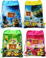 NEW despicable me 2 Minion Plush Cartoon Kids Drawstring Printed Backpack beach Shopping School Traveling Bags waterproof bags