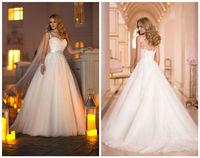 2014 sexy boat neck/backless Wedding Dresses custom size 8 10 12 14 16 18 20 22