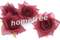 24pieces/lot silk flower rose heads Dark Red available wedding decoration favors 7cm