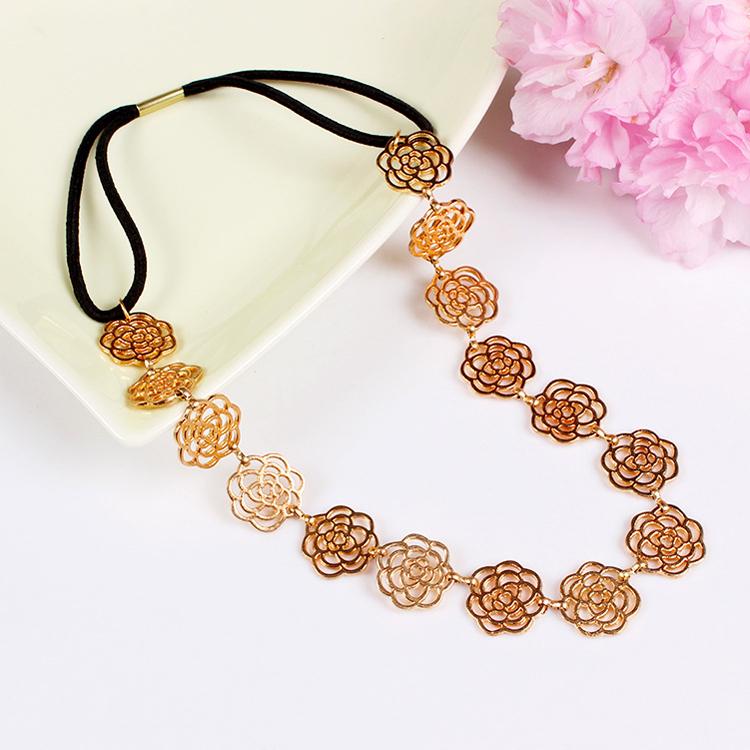 6pcs/lot fashion gold head chain hair jewelry for women elastic chain headpiece rose flower headbands metal hair accessories(China (Mainland))