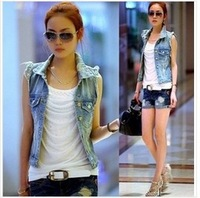Free shipping spring 2014 Women's Turn-down Collar Frayed Personalized Cardigans Lady Denim Jean Vest Coat