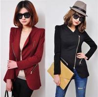 new 2014 autumn outfit new large size women's winter lapel oblique zipper Slim small suit jacket