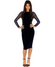 2014 New arrive  Europe and America new winter velvet sexy lace dress fence collage   clubwear   sexy underwear -049