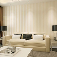 Obscure atmospheric vertical striped beige wallpaper minimalist living room bedroom wallpaper authentic non-woven wall paper
