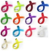 Single Clip in on Hair Extension Colorful Colored Punk Highlights Straight Synthetic Hair Pieces 14 colors available 1pc