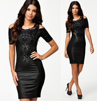 11.11 2014 new woman  fashion sexy lace embroidered fight skin tight dresses Boat Neck Short Sleeve Slim Dress
