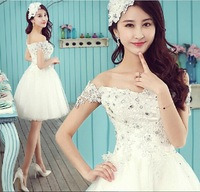 2014 New arrival Ball Gown Princess Bridesmaid dress Off the shoulder Lace Princess  Lace up back design dress Free shipping