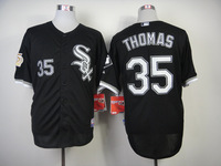 New Baseball Jerseys White Sox #35 Thomas Jersey Black Color 75 Years Patch Jersey Stitched Size 48-56 Mix Order