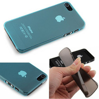 2pcs/lot Transparent 0.5mm Colorful Ultra Thin Slim Crystal Frosted Hard Cases Covers Shell For iPhone 4 4S5 5S Free Shipping