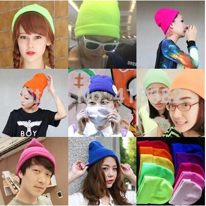 M001--100pcs/lot ems Free shipping 24 candy colors Fashion men's Beanie Hat Women Winter Hip-hop Cap(China (Mainland))