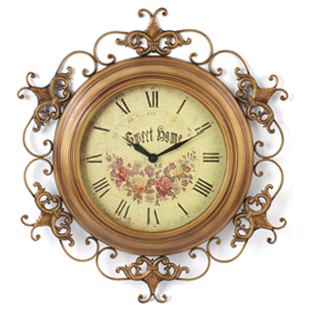 Promotional elegant European-style iron wall clock metal clock mute Art Antique clocks hanging garden living room table(China (Mainland))