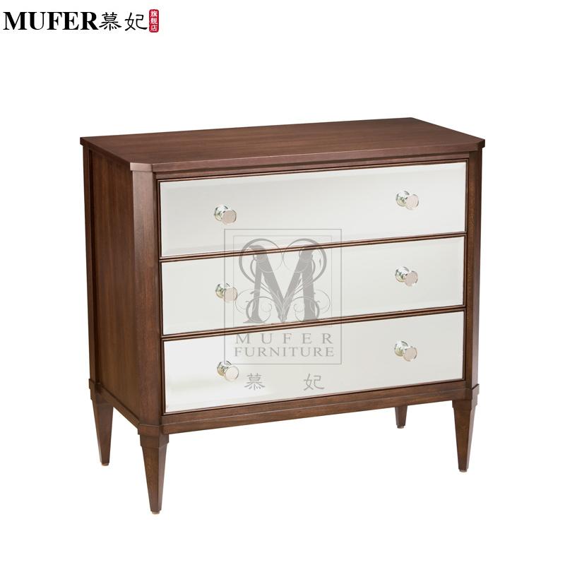 Markor American minimalist modern furniture custom wood nightstand side mirror glass cabinet