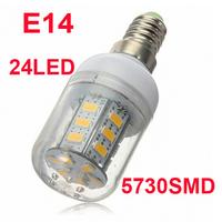 5pcs/lot 24 LEDS SMD 5730 LED corn bulb lamp, E14 LED spotlight 220V Warm white/ white led lighting,5730LED light free shipping
