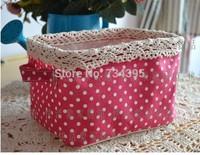 ZAKKA cotton small fresh pink, green wave point home cloth debris storage box storage box waterproof storage barrels Desktop