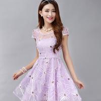 2014 summer ladies flower embroidery flower organza colorant match dress puff one-piece dress elegant new fashion high quality