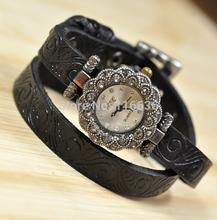 leather strap wristwatch Rhinestone flower ring watch style Casual dress watch Quartz new 2014 multicolor women